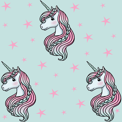 Unicorn - Teal & Hot Pink, Unicorn and Stars -  MEDIUM fabric by m&e_fashions on Spoonflower - custom fabric
