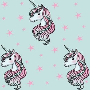 Unicorn - Teal & Hot Pink, Unicorn and Stars -  MEDIUM