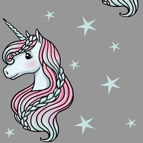 Unicorn - Gray & Teal, Unicorn and Stars - LARGE