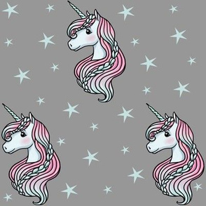 Unicorn - Gray & Teal, Unicorn and Stars - MEDIUM