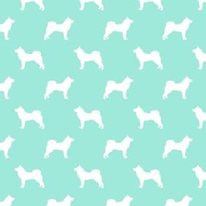 akita dog fabric - akita silhouette - dog silhouette design - aqua