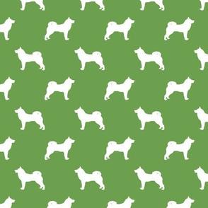 akita dog fabric - akita silhouette - dog silhouette design - asparagus green