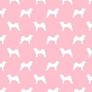 akita dog fabric - akita silhouette - dog silhouette design - blossom pink