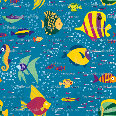 Many colourful fish and seahorse in the ocean