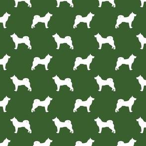akita dog fabric - akita silhouette - dog silhouette design - garden green