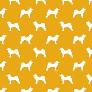 akita dog fabric - akita silhouette - dog silhouette design - goldenrod