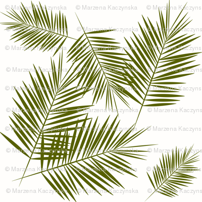 palm leaves - olive green on white