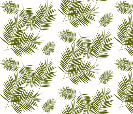 palm leaves - olive green on white fabric by sunny_afternoon on Spoonflower - custom fabric
