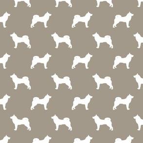 akita dog fabric - akita silhouette - dog silhouette design - medium brown