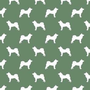 akita dog fabric - akita silhouette - dog silhouette design - medium green