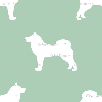 akita dog fabric - akita silhouette - dog silhouette design - mint green