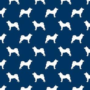 akita dog fabric - akita silhouette - dog silhouette design - navy