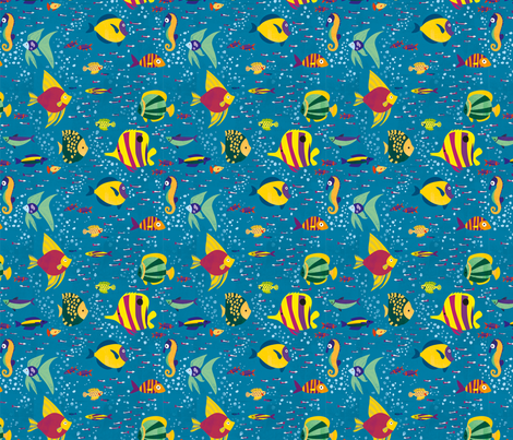 Many colourful fish and seahorse in the ocean fabric by gaellel on Spoonflower - custom fabric