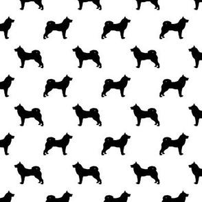 akita dog fabric - akita silhouette - dog silhouette design - white and black