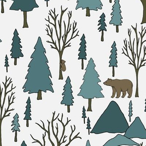 Bear Forest - Teal, White