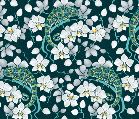 chameleons and orchids  fabric by elena_naylor on Spoonflower - custom fabric