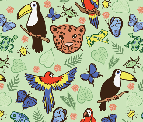 Rainforest Paradise  fabric by kellie_jayne_ on Spoonflower - custom fabric