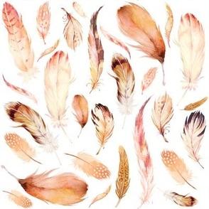 """8"""" Boho Peach Feathers"""