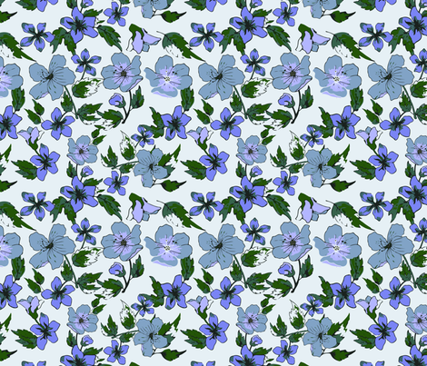 Tranquil Pansies fabric by sixsie_lou on Spoonflower - custom fabric