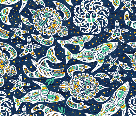 native-oceanspirits-gold fabric by gaiamarfurt on Spoonflower - custom fabric