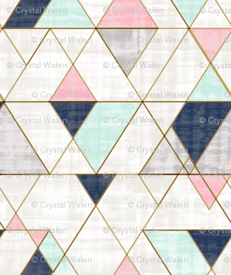 Mod Triangles Navy Mint Pink