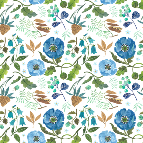 Floral Blues fabric by oanabefort on Spoonflower - custom fabric