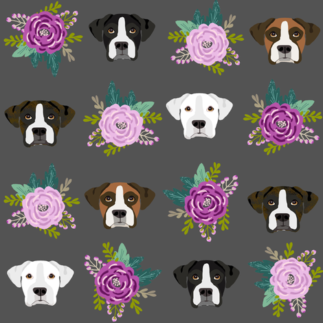 boxer dog fabric boxer dogs fabric boxer heads design - charcoal flowers fabric by petfriendly on Spoonflower - custom fabric