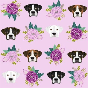 boxer dog fabric boxer dogs fabric boxer heads design - purple flowers