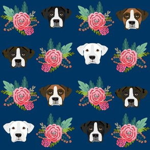 boxer dog fabric boxer dogs fabric boxer heads design - navy florals