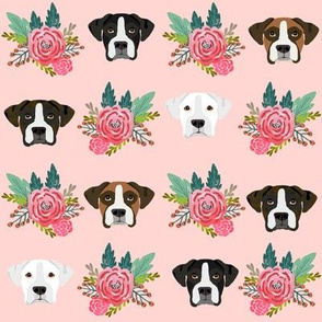 boxer dog fabric boxer dogs fabric boxer heads design - pink florals