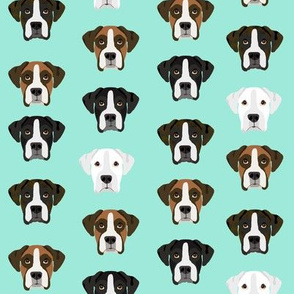 boxer dog fabric boxer dogs fabric boxer heads design - aqua