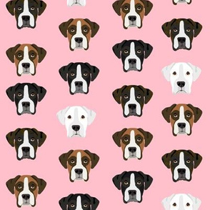 boxer dog fabric boxer dogs fabric boxer heads design - pink