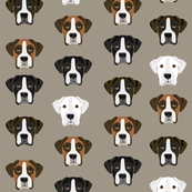 boxer dog fabric boxer dogs fabric boxer heads design - medium brown