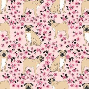 pug dog fabric cherry blossom spring fabric - cute dog design - blossom pink