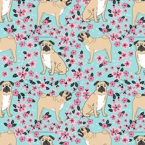 pug dog fabric cherry blossom spring fabric - cute dog design - lite blue