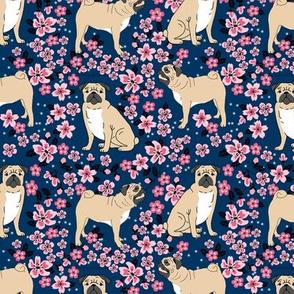 pug dog fabric cherry blossom spring fabric - cute dog design - navy