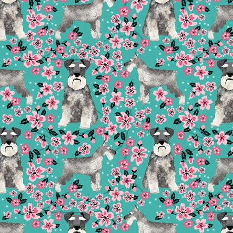 schnauzer dog fabric cherry blossom spring fabric - cute dog design - turquoise fabric by petfriendly on Spoonflower - custom fabric