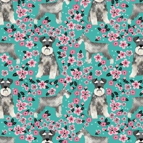 schnauzer dog fabric cherry blossom spring fabric - cute dog design - turquoise