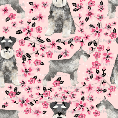 schnauzer dog fabric cherry blossom spring fabric - cute dog design - blossom pink