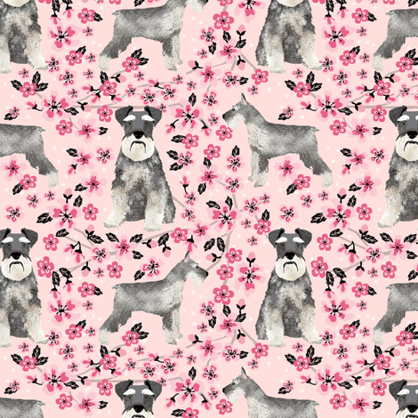schnauzer dog fabric cherry blossom spring fabric - cute dog design - blossom pink fabric by petfriendly on Spoonflower - custom fabric