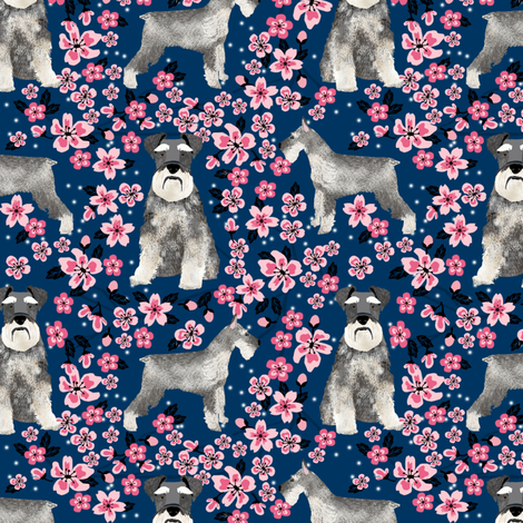 schnauzer dog fabric cherry blossom spring fabric - cute dog design - navy fabric by petfriendly on Spoonflower - custom fabric