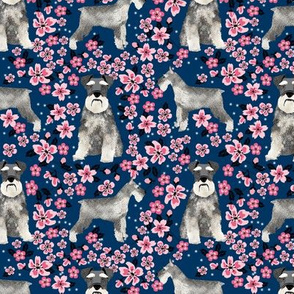 schnauzer dog fabric cherry blossom spring fabric - cute dog design - navy