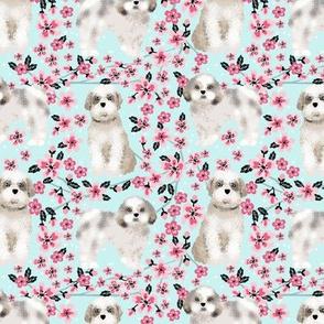 shih tzu dog fabric cherry blossom spring fabric - cute dog design - lite blue
