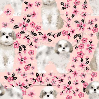shih tzu dog fabric cherry blossom spring fabric - cute dog design - blossom pink