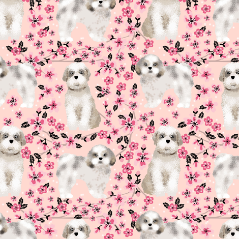 shih tzu dog fabric cherry blossom spring fabric - cute dog design - blossom pink fabric by petfriendly on Spoonflower - custom fabric