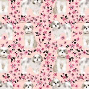 shih tzu dog fabric cherry blossom spring fabric - cute dog design - blossom pink