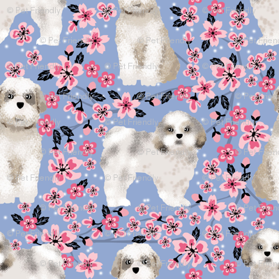shih tzu dog fabric cherry blossom spring fabric - cute dog design - cerulean