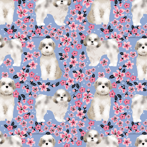 shih tzu dog fabric cherry blossom spring fabric - cute dog design - cerulean fabric by petfriendly on Spoonflower - custom fabric