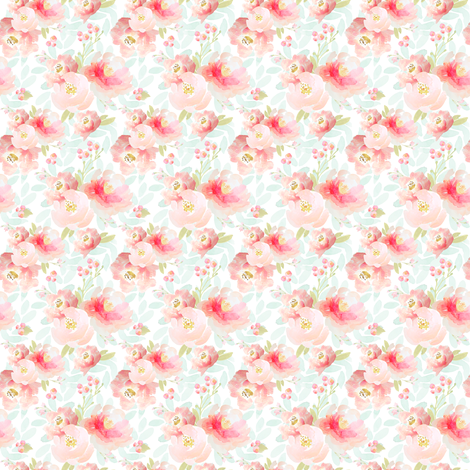 Pink Plush Florals C fabric by indybloomdesign on Spoonflower - custom fabric
