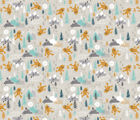 Sasquatch Stomp Mini fabric by cynthiafrenette on Spoonflower - custom fabric